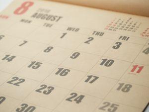 夏休みのカレンダーイメージ画像